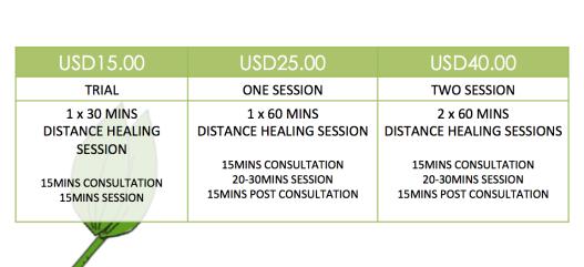 JL Healing Pricing Chart