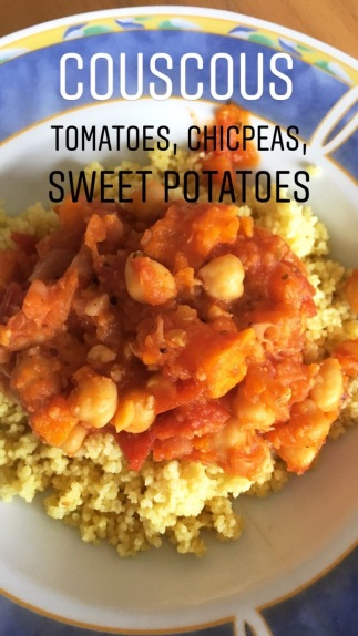 Couscous with Tomatoes, Chickpeas, Sweet Potatoes
