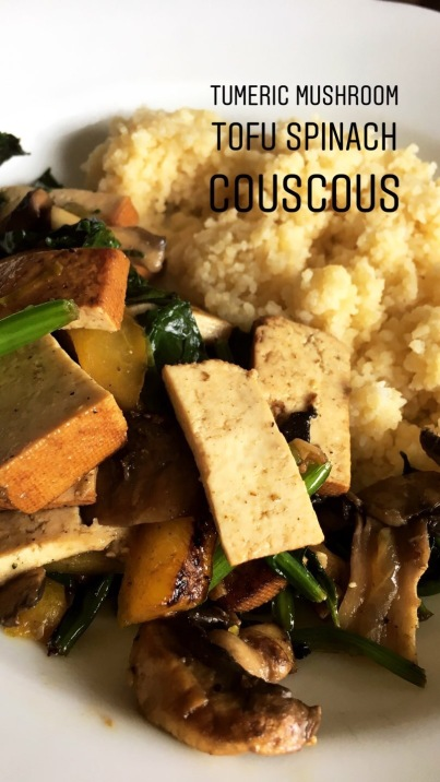 Couscous with Tumeric Mushroom, Tofu and Spinach