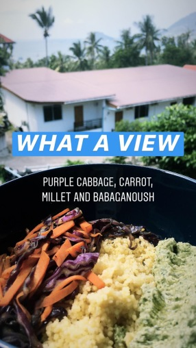 Millet Bowl with Purple Cabbage, Carrot and Babaganoush